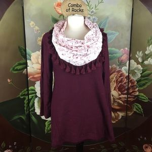 NEW Style & Co Plus Size Tassel Scarf Sweater Set